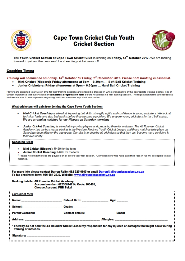 Cape Town CC Youth Cricket Section Term 4 - 2017_001