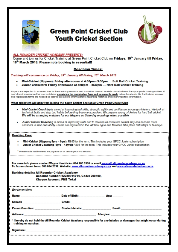 Green Point CC Youth Section - Term 1_2018