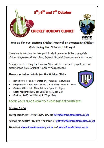 Pre-season Cricket Clinic at Greenpoint Cricket Club_001