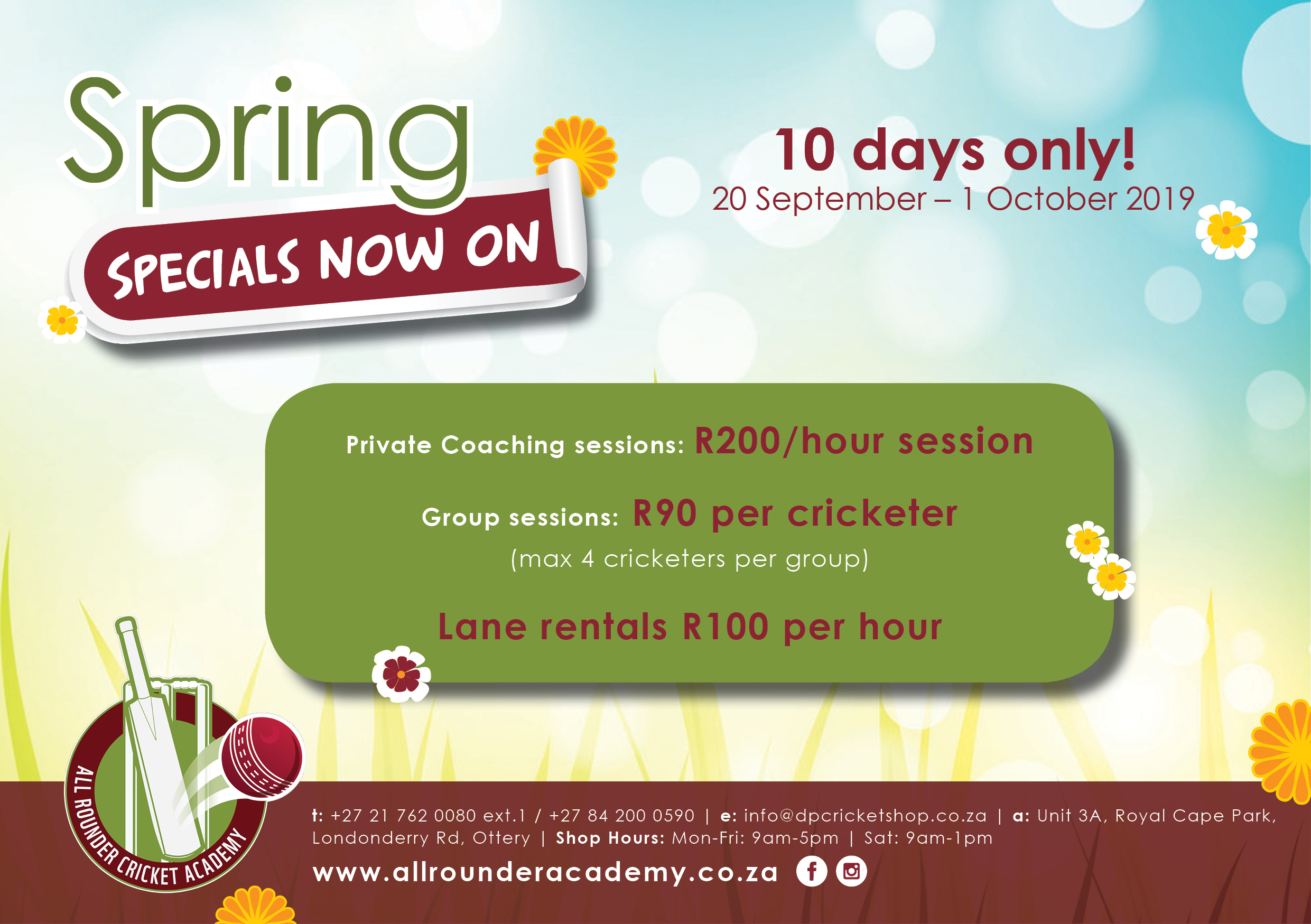 Spring Specials All Rounder Indoor Centre September 2019